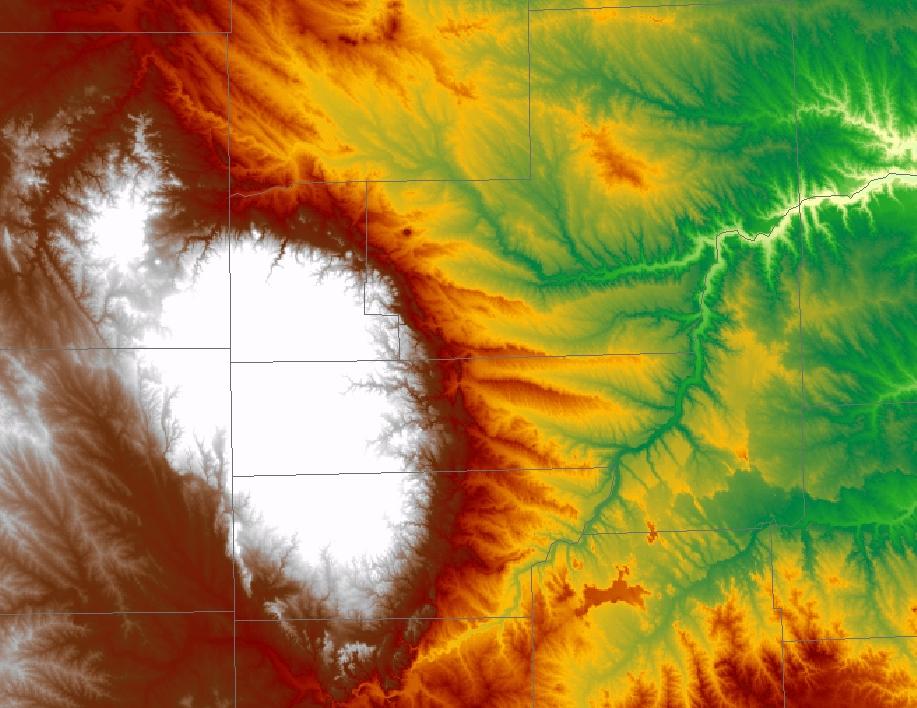 topography image of western South Dakota