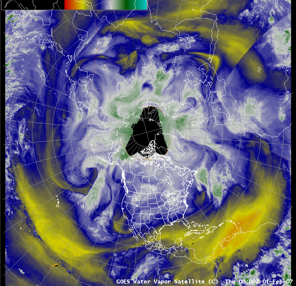 AWIPS northern hemisphere water vapor image