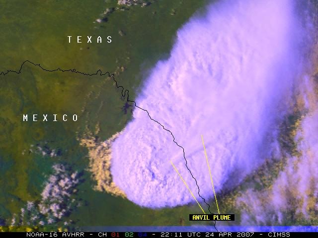 NOAA-16 channels 01, 02, 04 RGB image