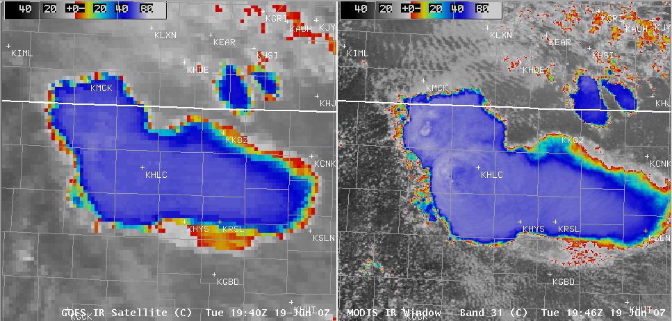 AWIPS MODIS + GOES IR images