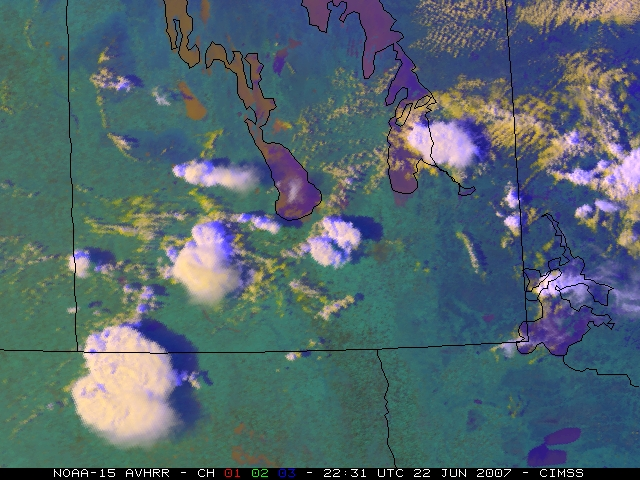 NOAA-15 AVHRR false color image