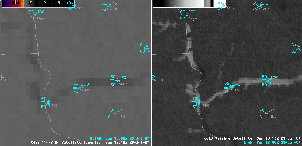 AWIPS GOES fog product + visible image