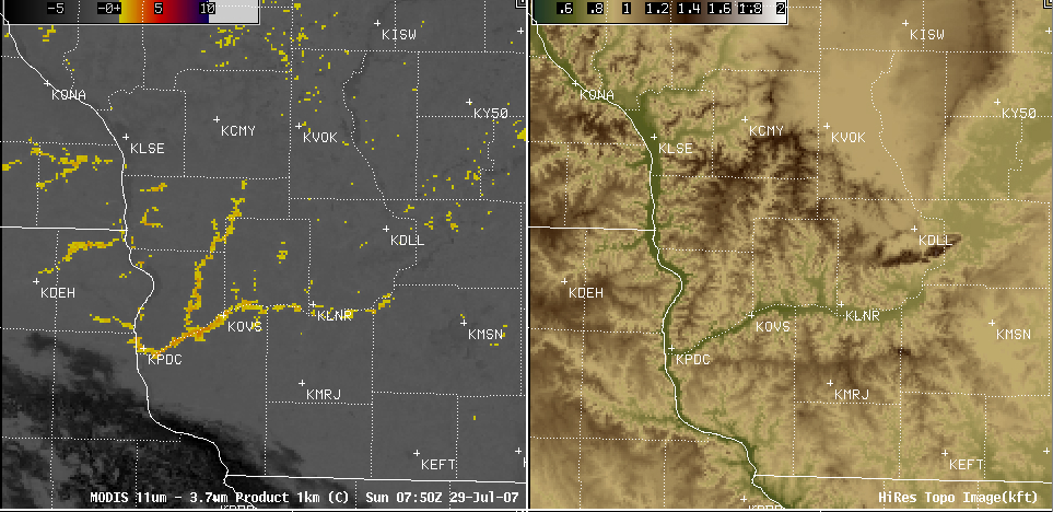 AWIPS MODIS fog/stratus product + topography