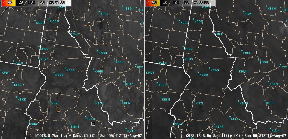 AWIPS MODIS + GOES shortwave IR images