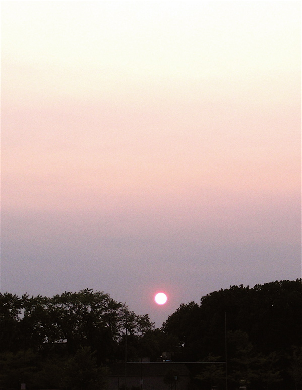 smoky sunset in southern Wisconsin