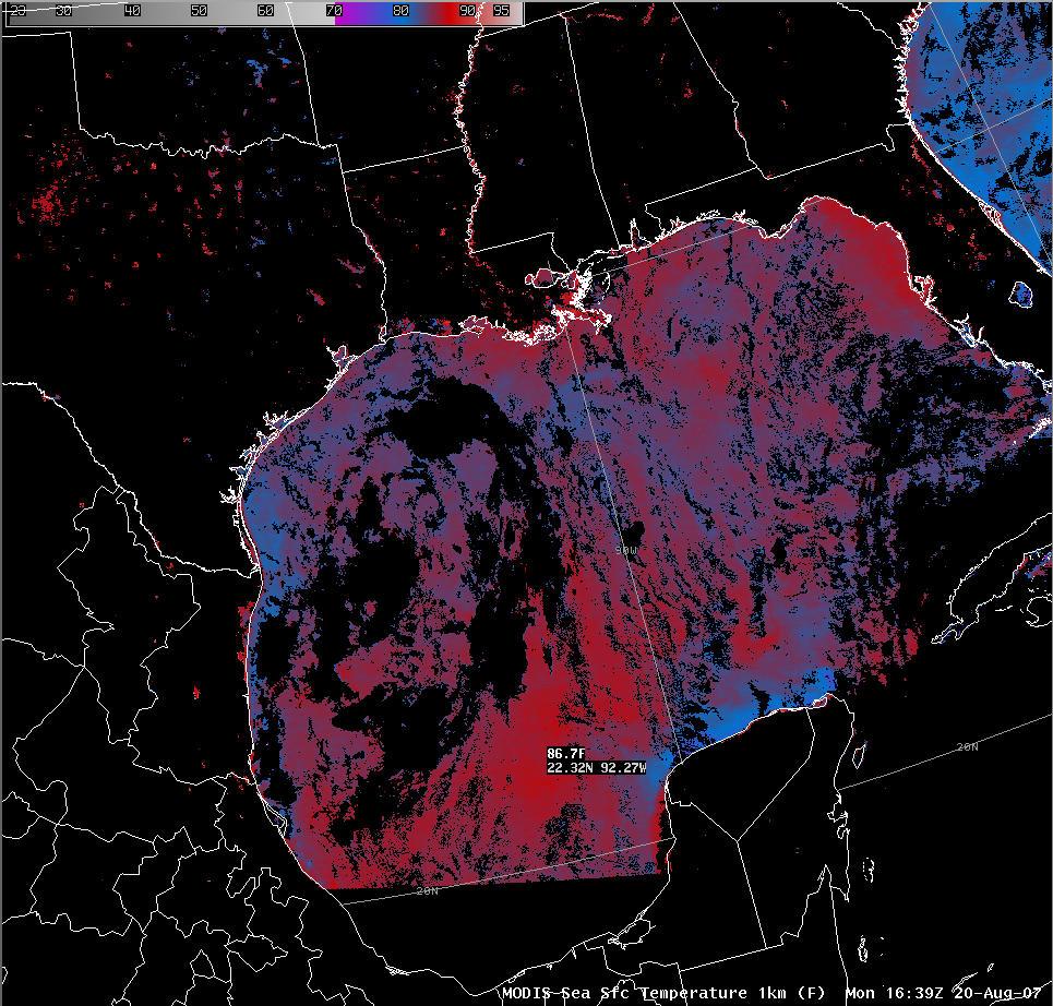 AWIPS MODIS SST image
