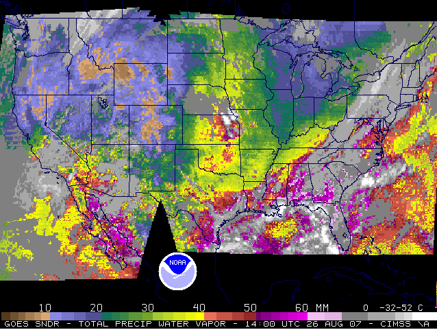 GOES sounder total precipitable water