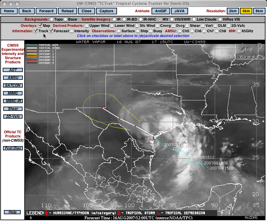 GOES-12 water vapor image with Erin track