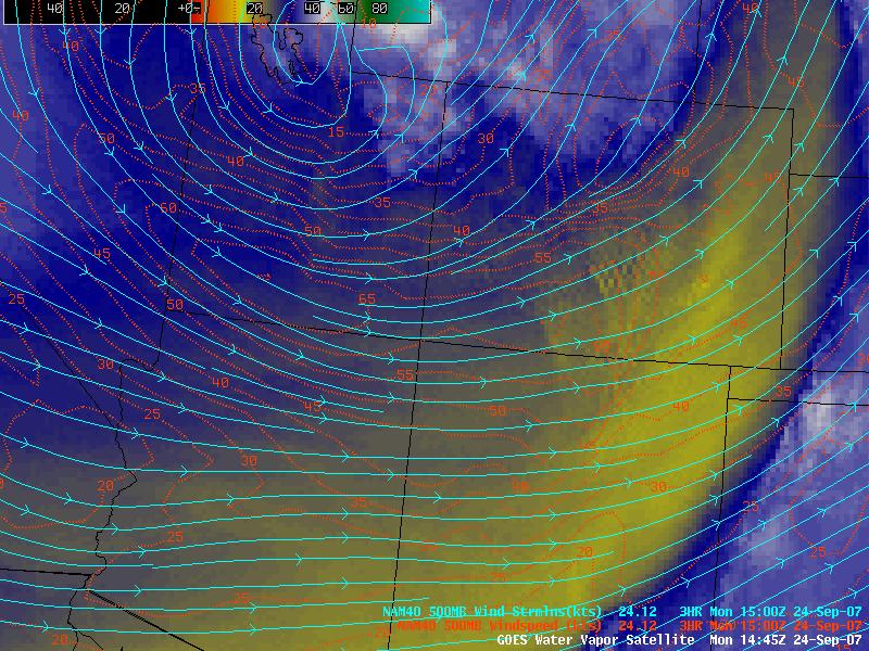 GOES-12 water vapor image + NAM 500mb winds