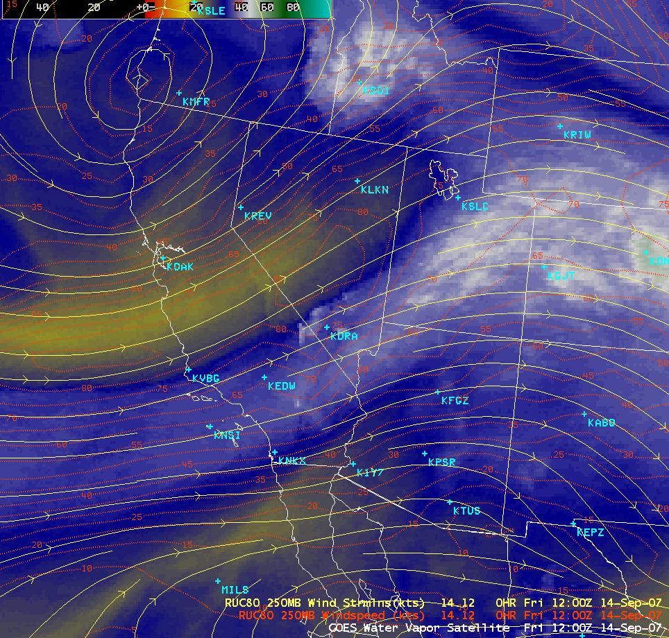 GOES-11 water vapor image + model winds