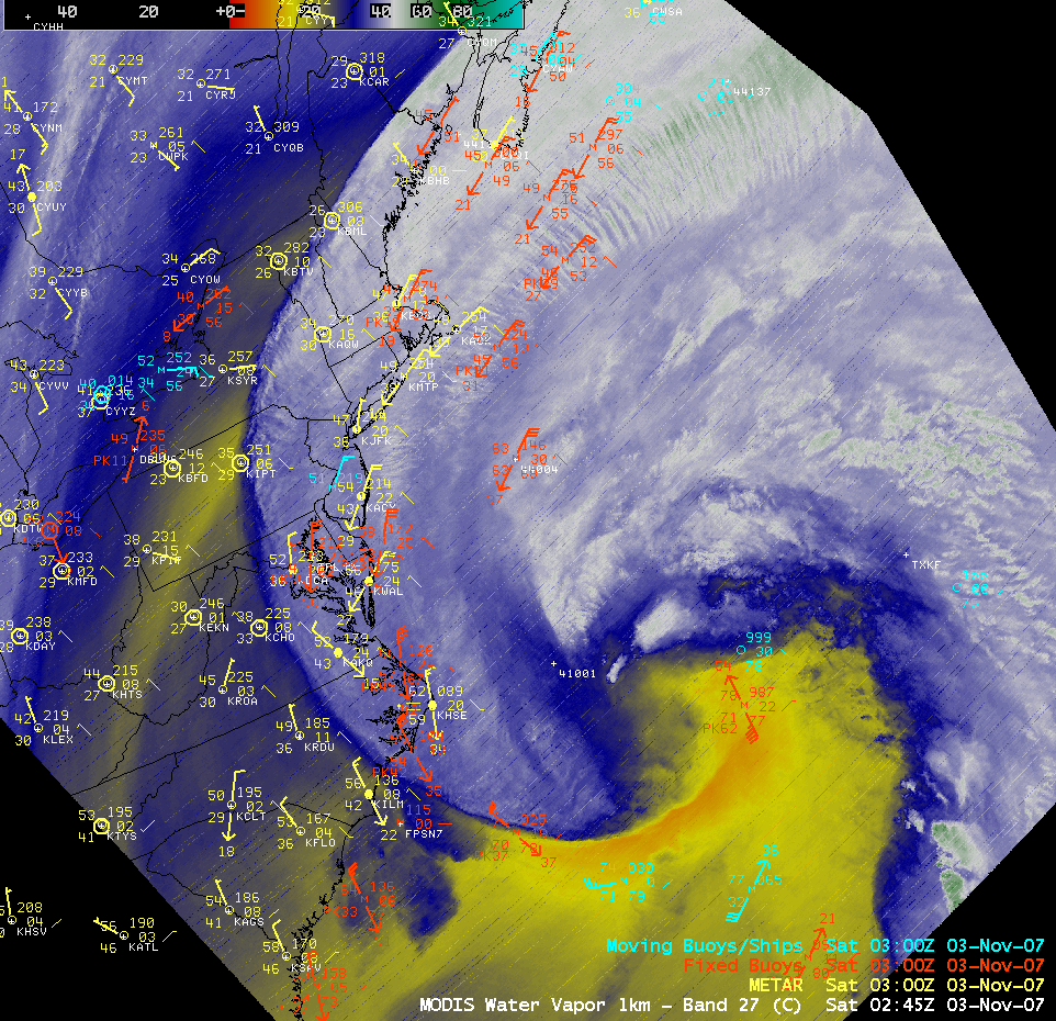 MODIS water vapor image + surface reports