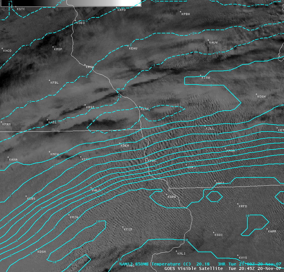 GOES-12 visible image + NAM 850mb isotherms