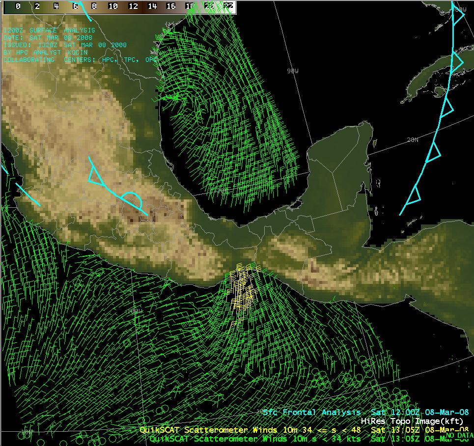 Topography + QuikSCAT winds