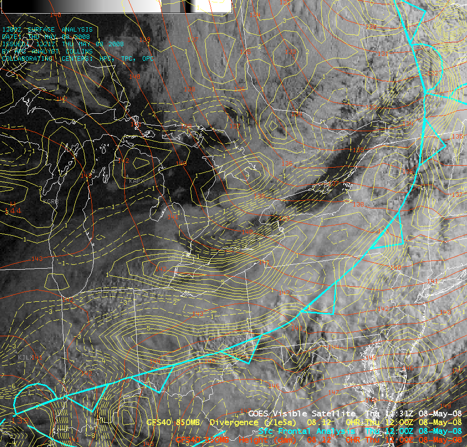 GOES-12 visible image + model 850 hPa divergence