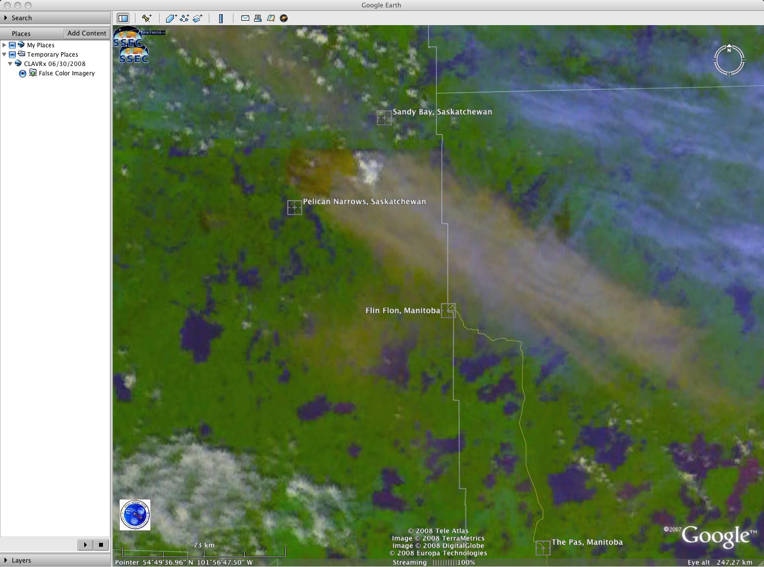AVHRR false color image (Google Earth)