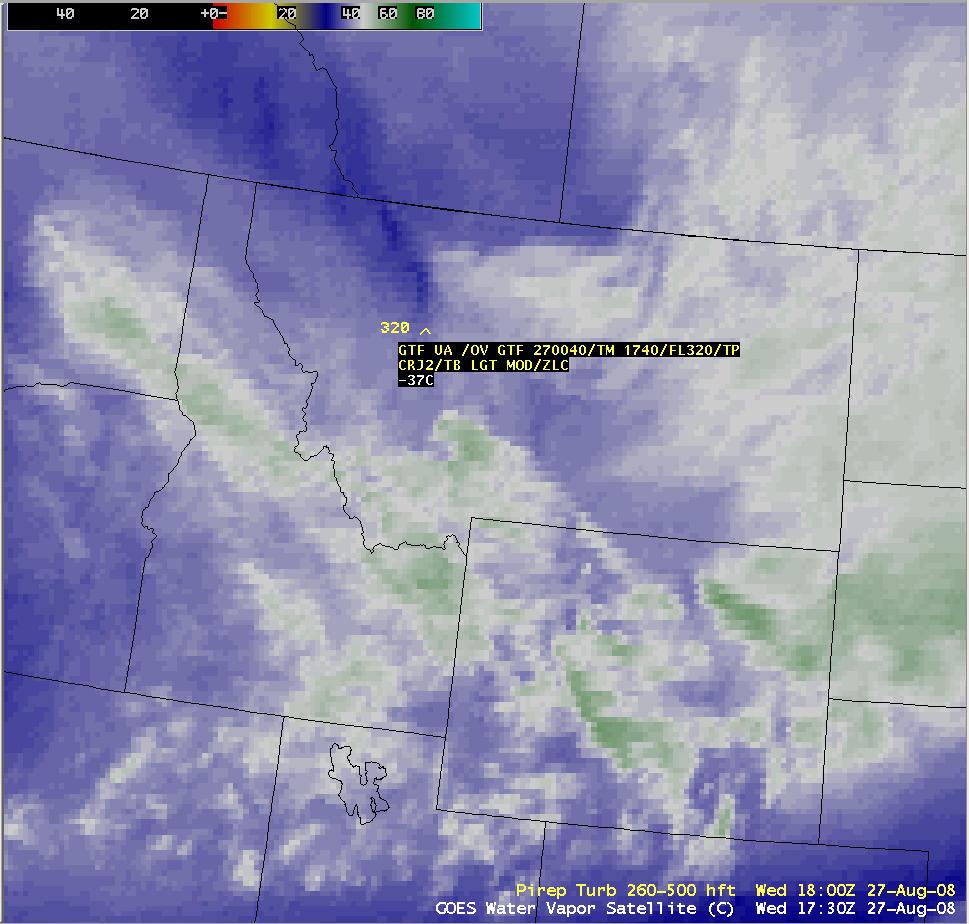 AWIPS image of GOES water vapor image + PIREP