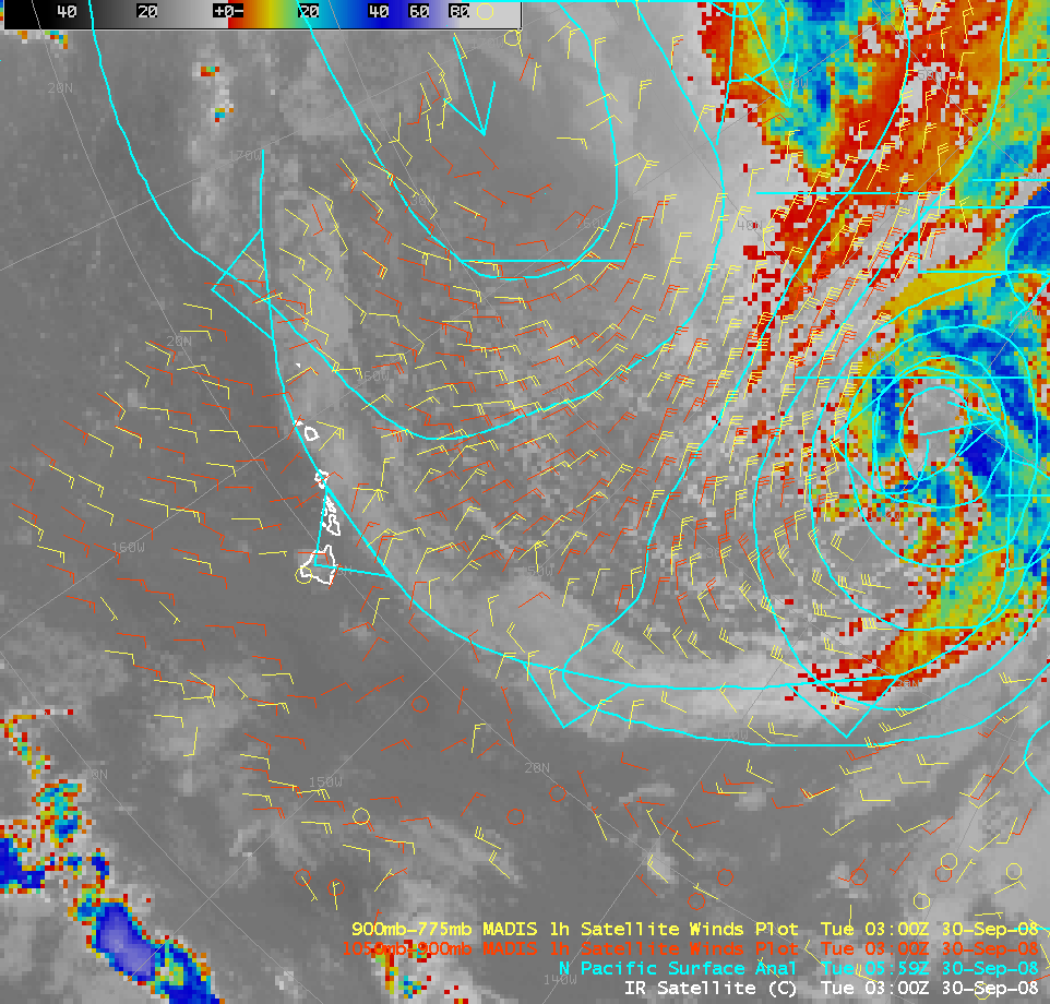 AWIPS image of GOES-11 10.7 µm IR channel and MADIS winds
