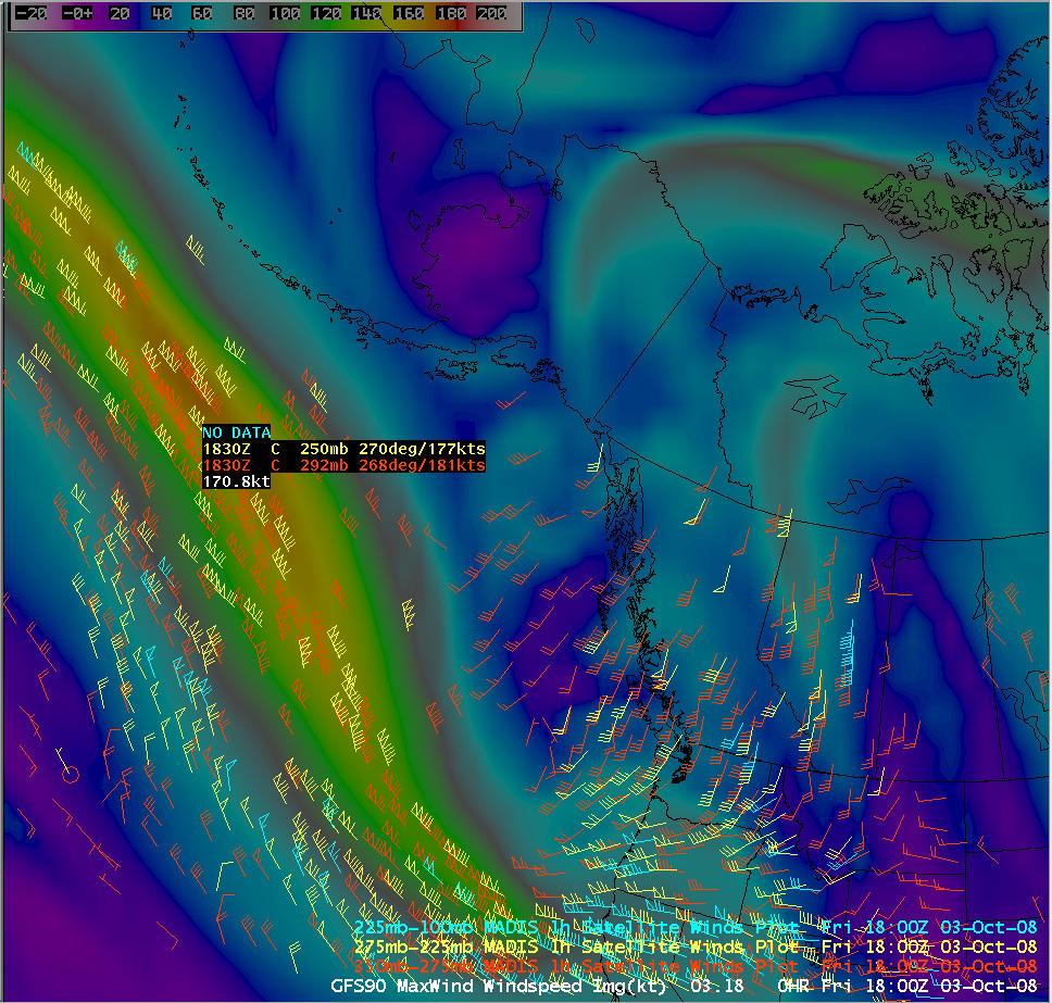 GFS winds + MADIS winds
