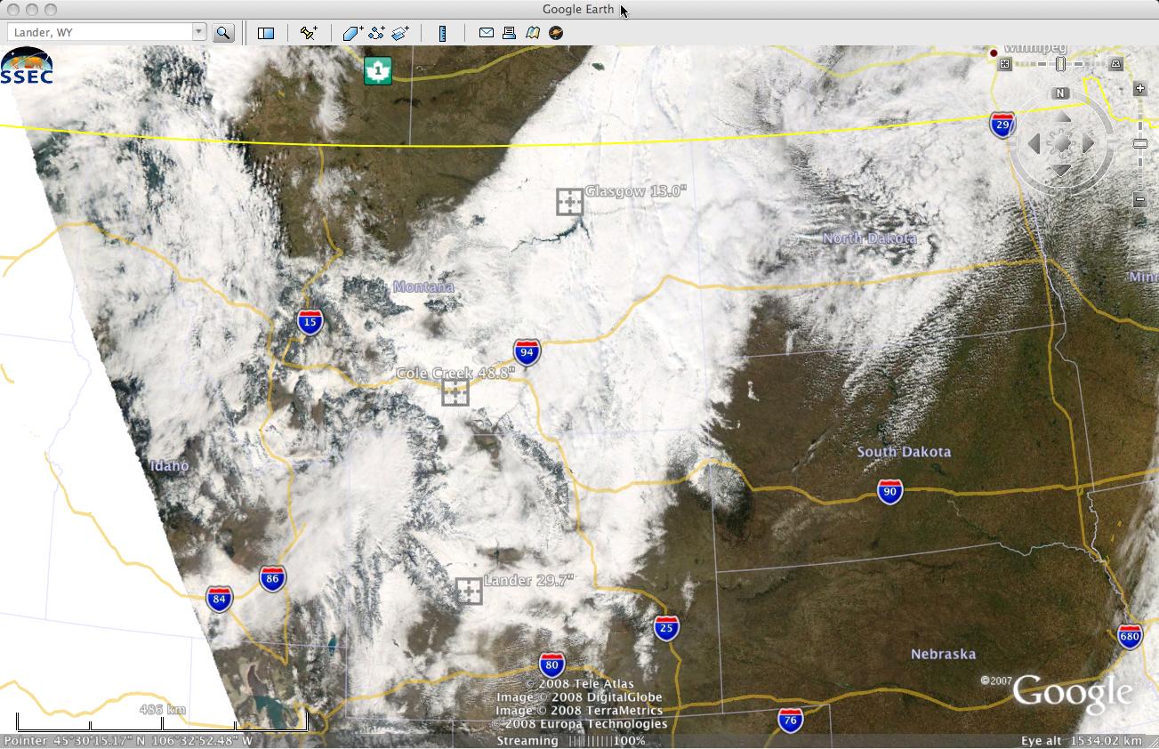 MODIS true color image (viewed using Google Earth)