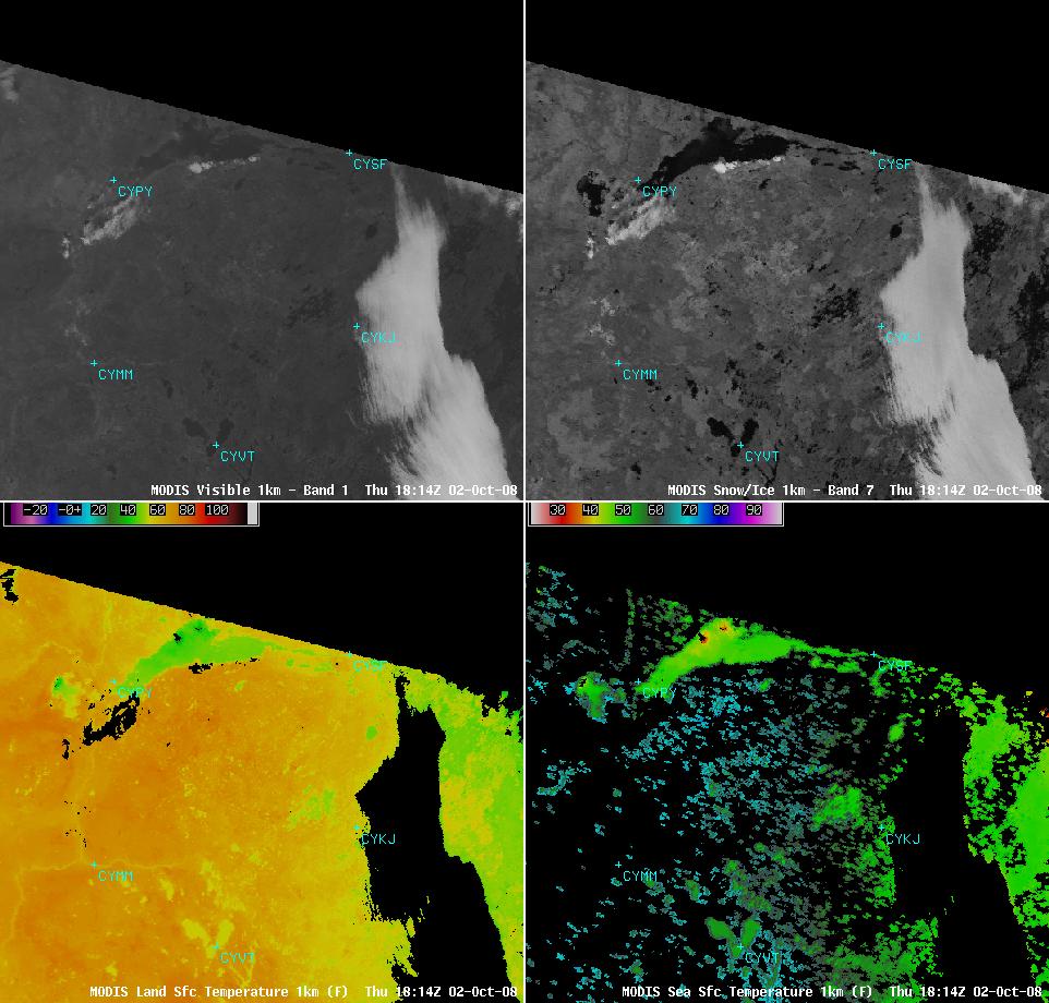 MODIS Visible, Snow/ice, Land Surface Temperature, Sea Surface Temperature