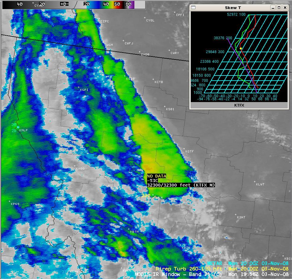 MODIS 11.0 µm IR window image (with Great Falls MT rawinsonde data)