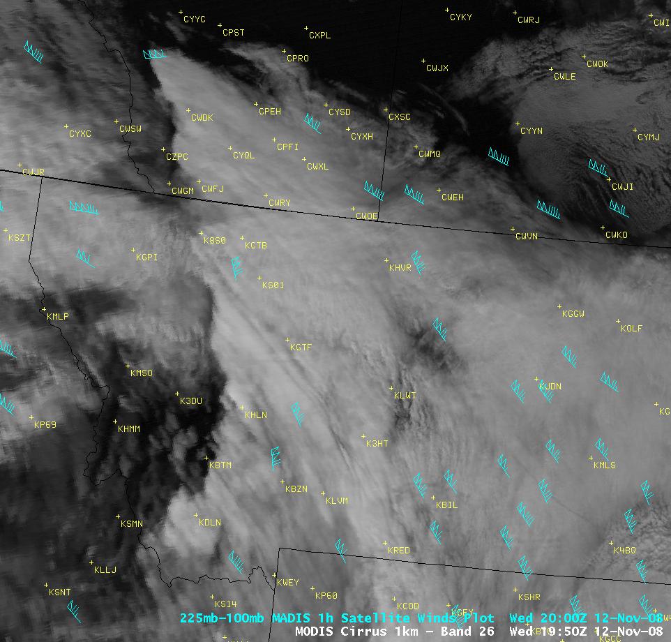 MODIS cirrus image + MADIS atmospheric motion vectors