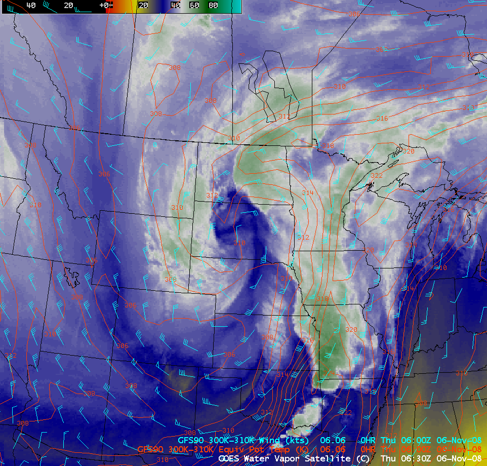 GOES-12 6.5 µm water vapor image + GFS model fields