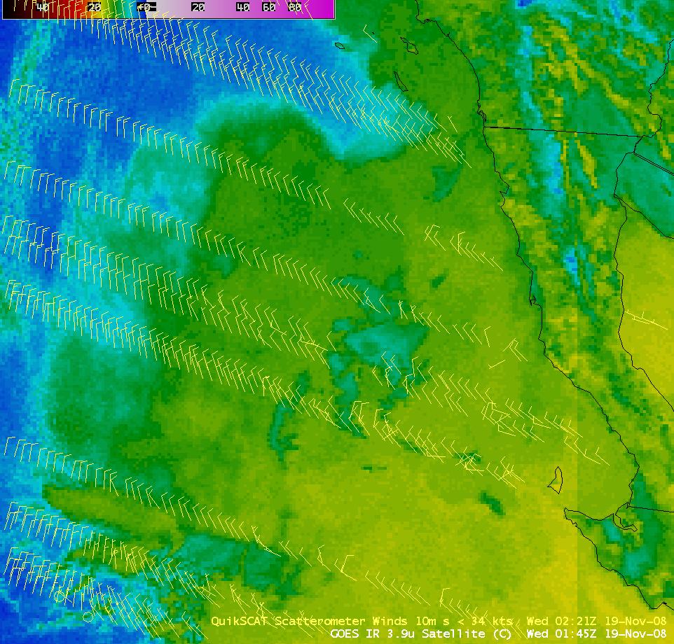 GOES-11 3.9 µm IR image + QuikSCAT winds