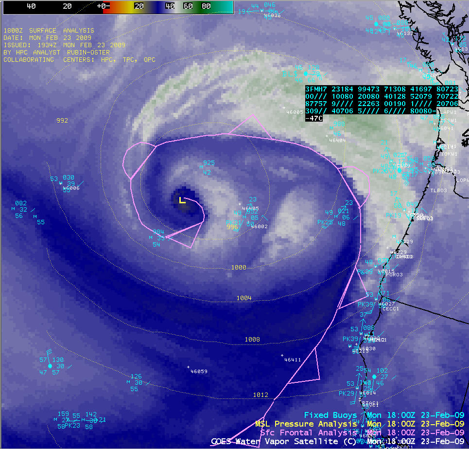 GOES-11 water vapor image (with surface fronts and surface data)