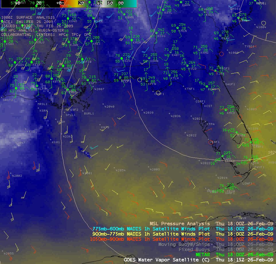 GOES-12 water vapor image + MADIS satellite winds