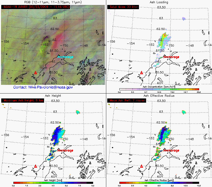 4-panel of volcanic ash products (23 March 11:46 UTC)