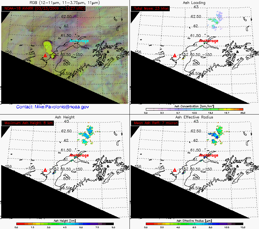 4-panel of volcanic ash products (23 March 13:27 UTC)