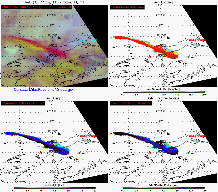 4-panel of volcanic ash products (24 March 06:33 UTC)