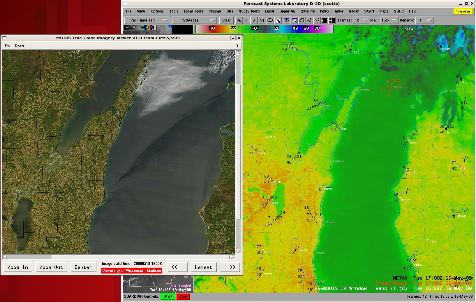 MODIS true color image + MODIS 11.0 µm IR image