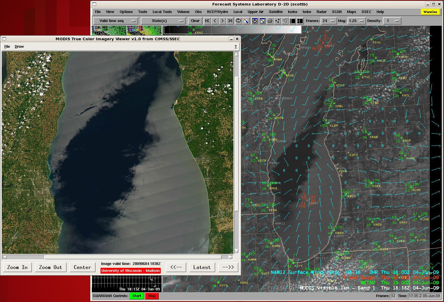 MODIS 250-meter true color image + MODIS visible image