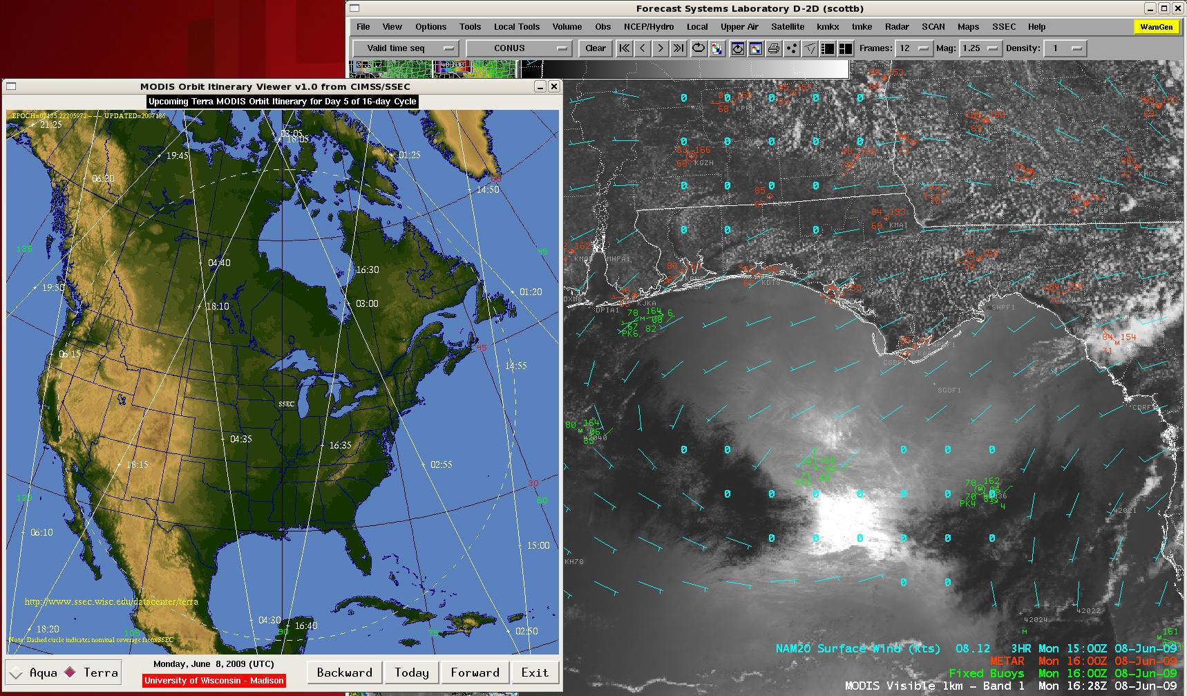 MODIS visible image + Terra satelite overpass geometry