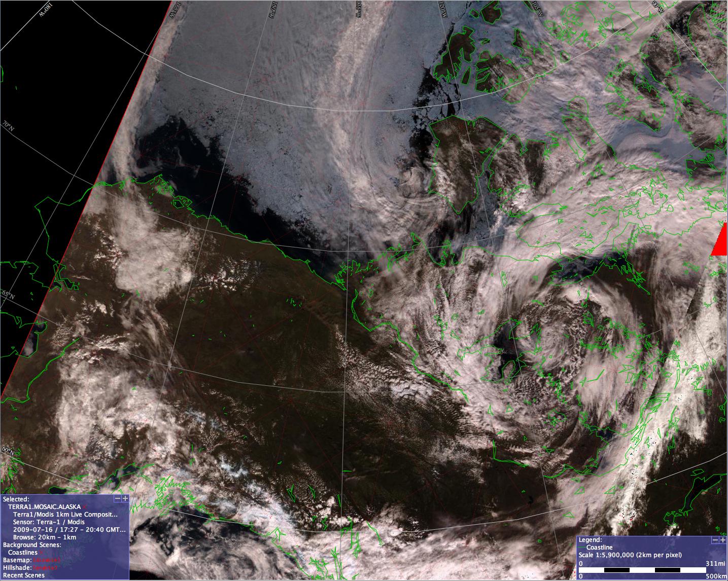 MODIS true color image (courtesy of GINA, University of Alaska Fairbanks)