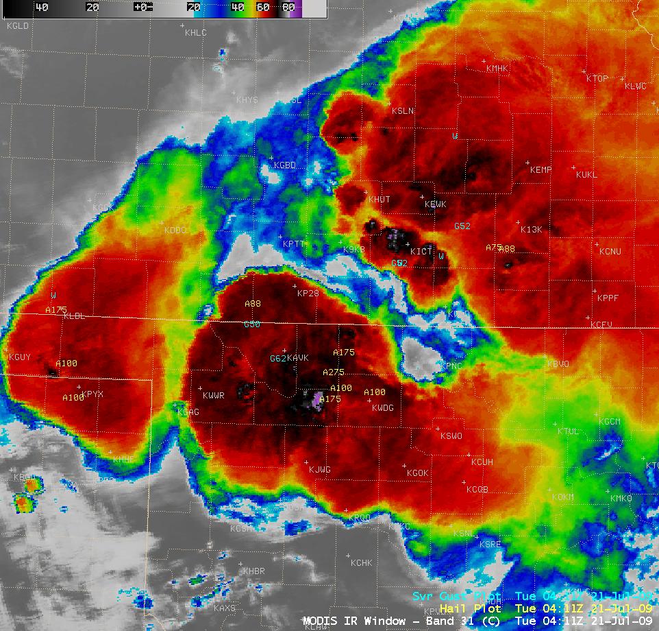 MODIS 11.0 µm IR image + SPC storm reports
