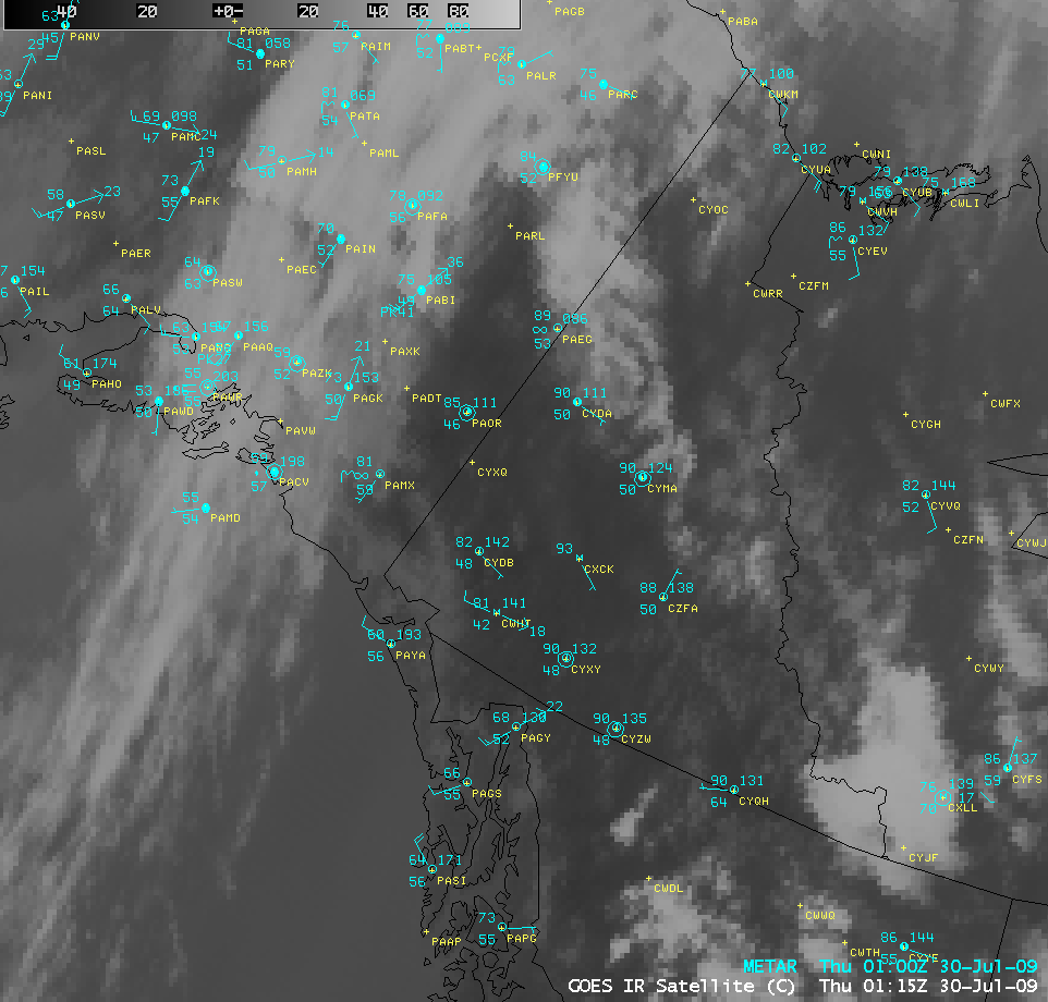 GOES-11 IR image with surface reports