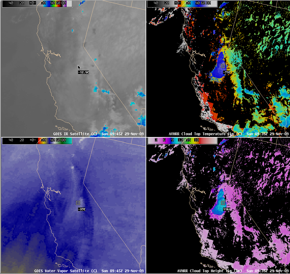 GOES IR, GOES water vapor, AVHRR Cloud Top Temperature, and AVHRR Cloud Top Height