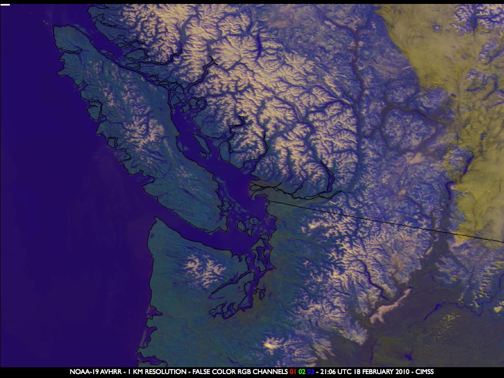 NOAA-19 false color Red/Green/Blue (RGB) image