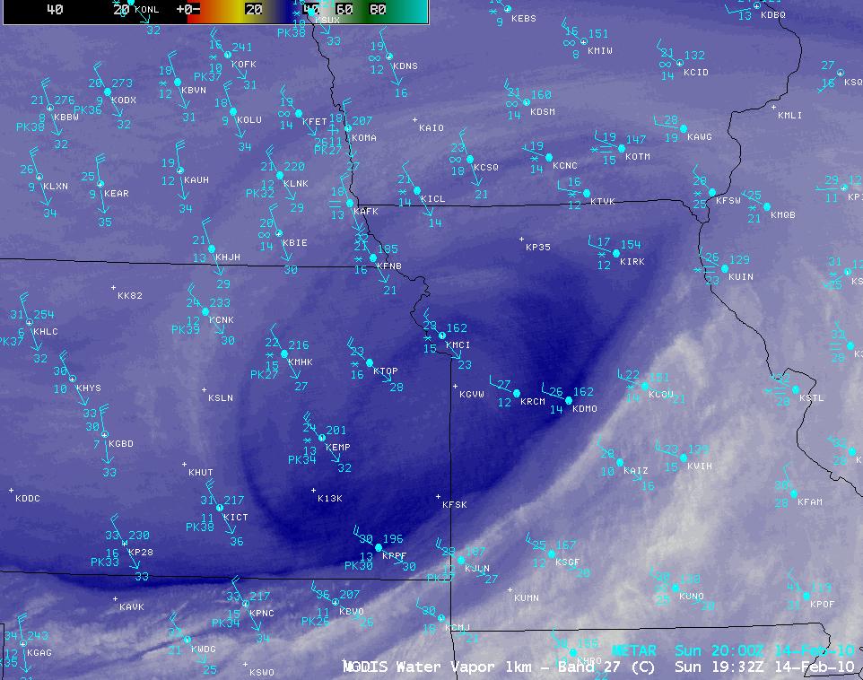 MODIS 6.7 µm water vapor image + METAR surface reports