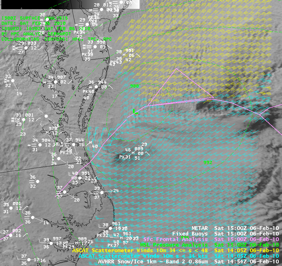 AVHRR 0.86 µm visible image + ASCAT scatterometer winds