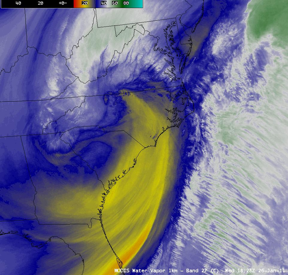 MODIS 6.7 µm water vapor image