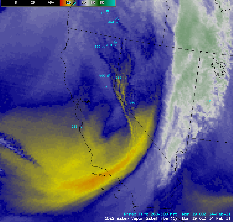 GOES water vapor images with pilot reports of turbulence (click image to play animation)