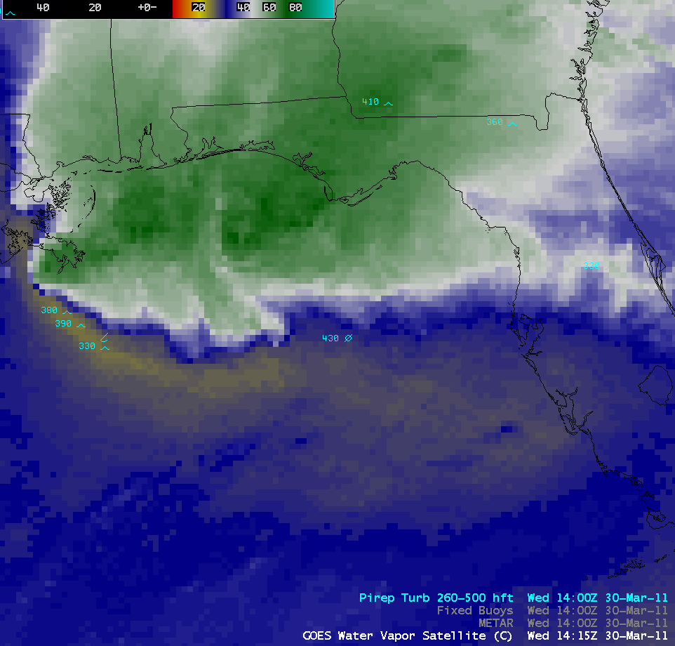 GOES-13 6.5 µm water vapor images + pilot reports of turbulence (click to play animation)