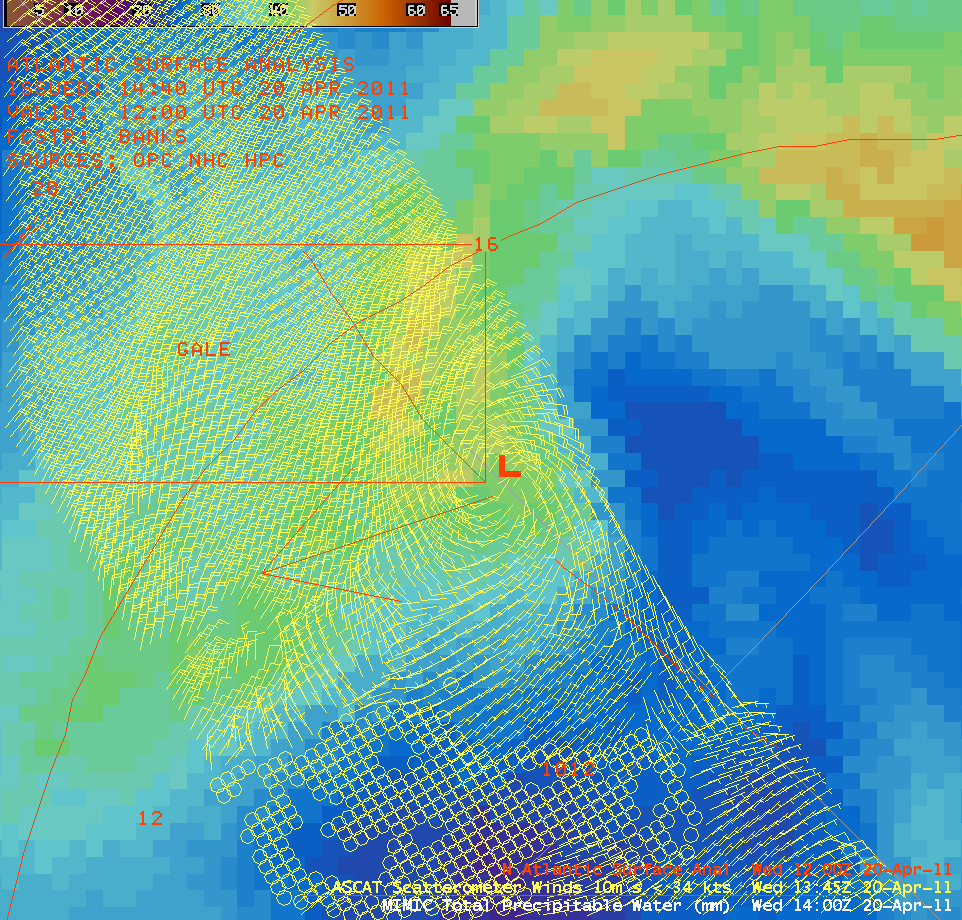 MIMIC TPW product + ASCAT surface winds + Surface analysis