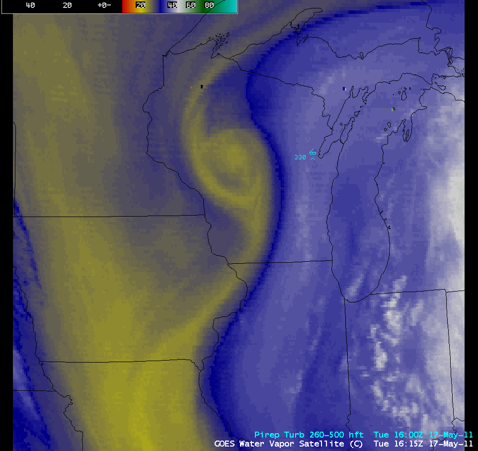 GOES-13 6.5 µm water vapor images + pilot reports of turbulence (click image to play animation)