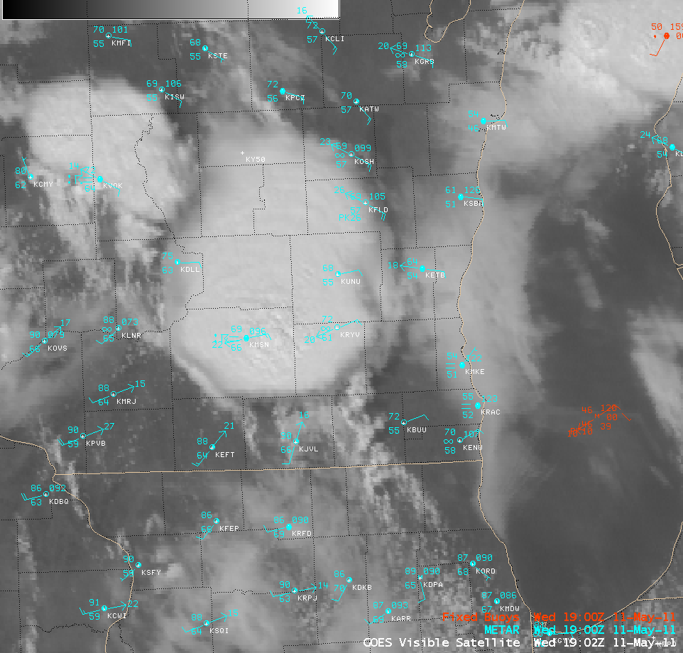 GOES-13 0.63 µm visible channel images + surface reports (click image to play animation)