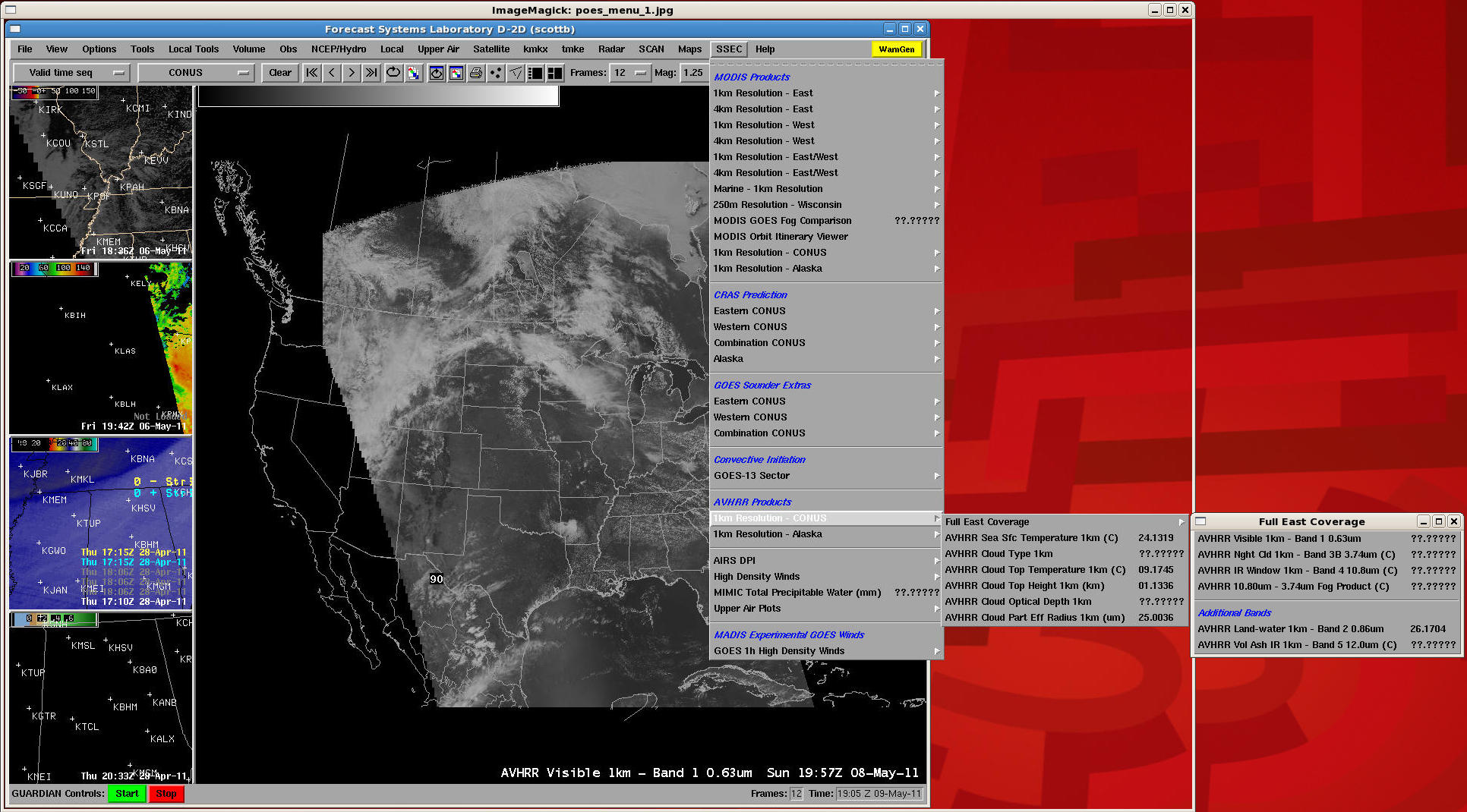 POES AVHRR individual channels in AWIPS menu